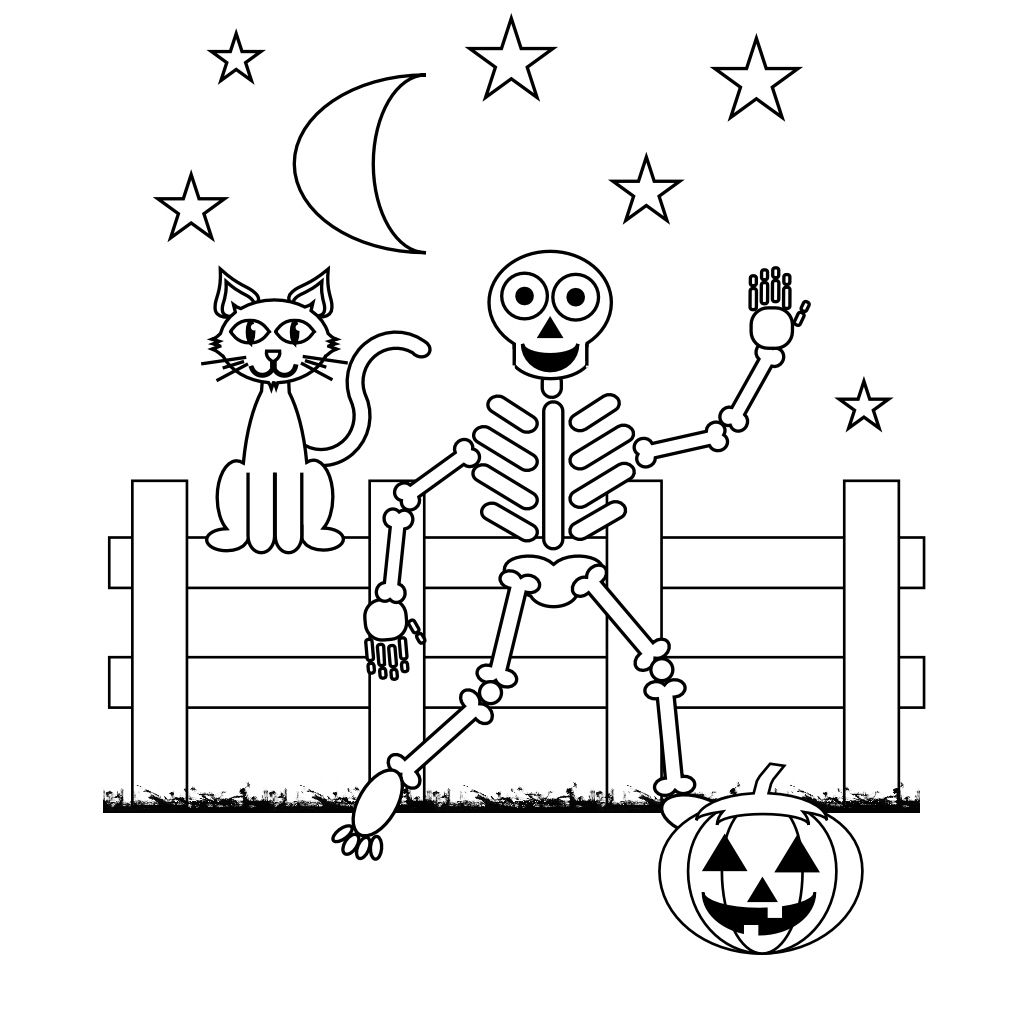 1027x1027 Free Skeleton Coloring Pages With Printable Skeleton Coloring