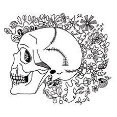 Skeleton Face Coloring Page
