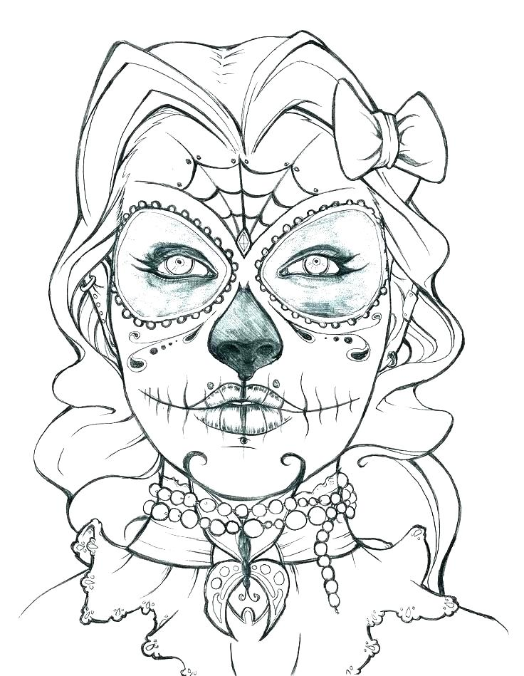 Skeleton Head Coloring Pages