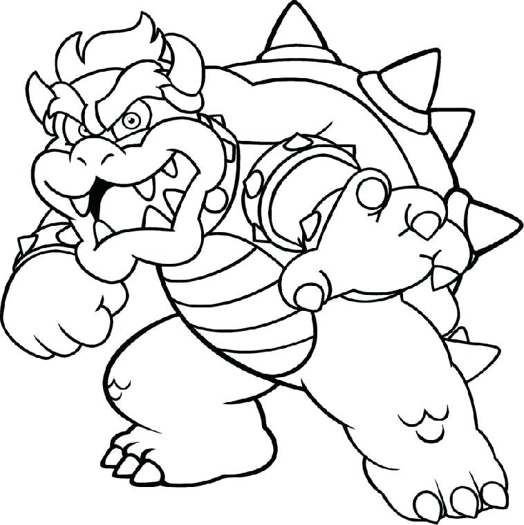 758x760 Bowser Coloring Pages Coloring Page Skeleton Coloring Pages