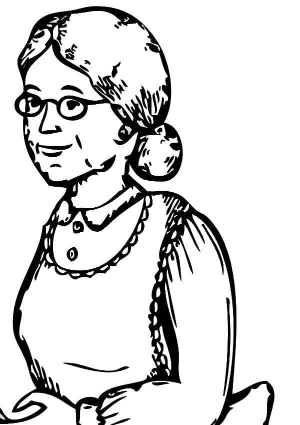 600x849 Sketch Of My Grandmother Coloring Pages Color Luna