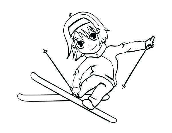 600x464 Little Girl Skiing Coloring Page Also Little Girl Skiing Coloring