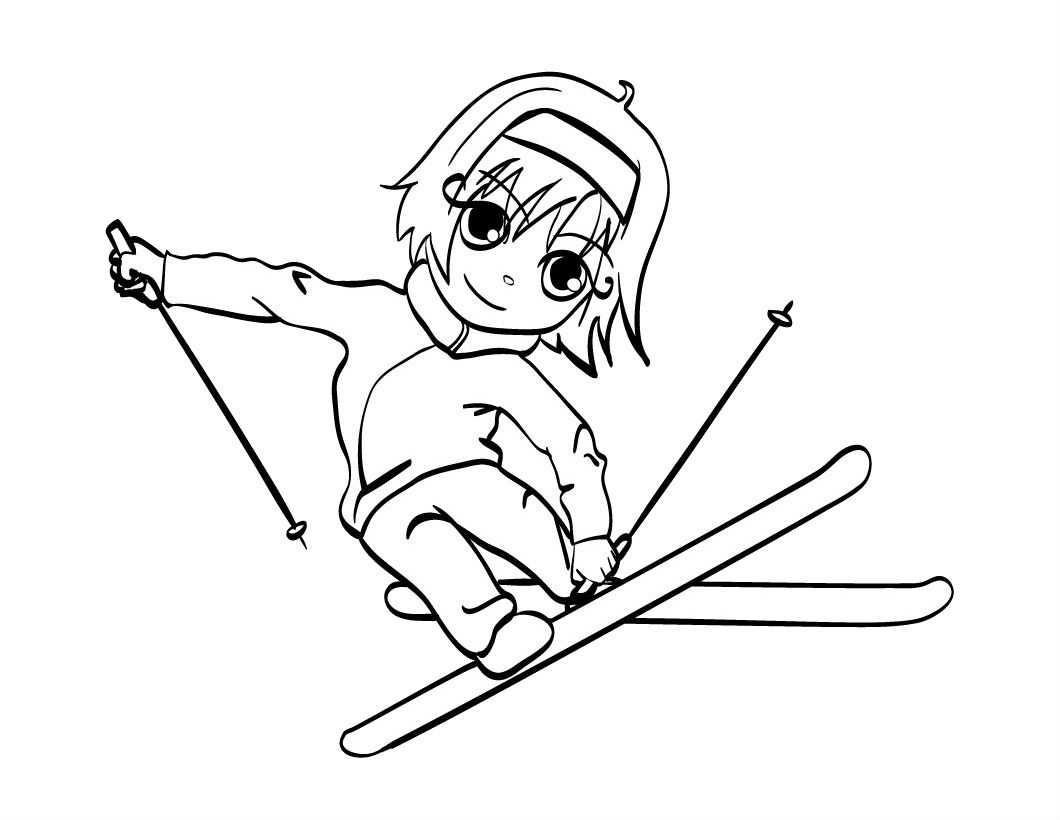 1060x820 New Smile Playing Skiing Skiing Free Coloring Pages