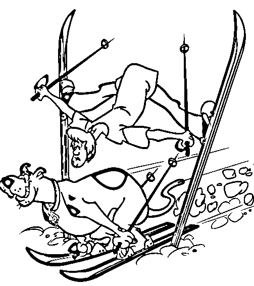 503x566 Scooby And Shaggy Skiing Coloring Page Animal Pages