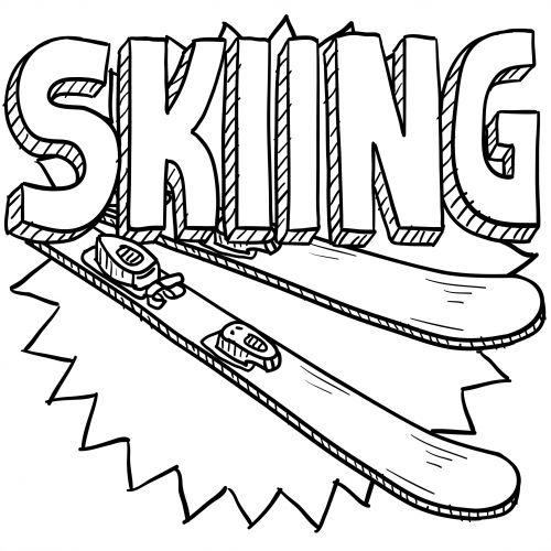 500x500 Skiing Coloring Page