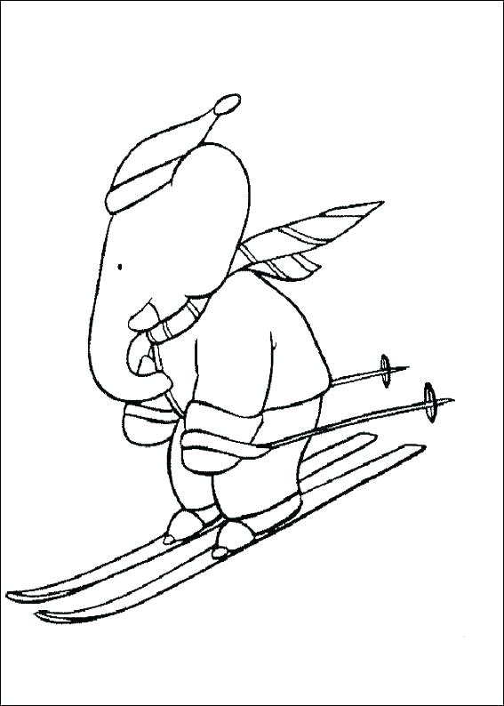 567x794 Skiing Coloring Page