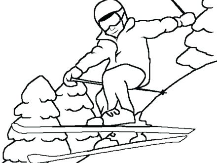 440x330 Skiing Coloring Pages Freestyle Skiing Coloring Page Water Skiing