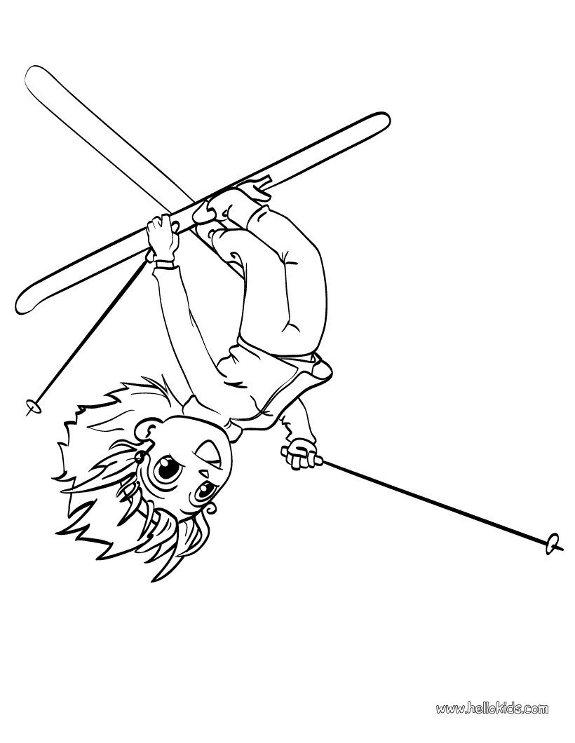 820x1060 Skiing Girl Coloring Pages