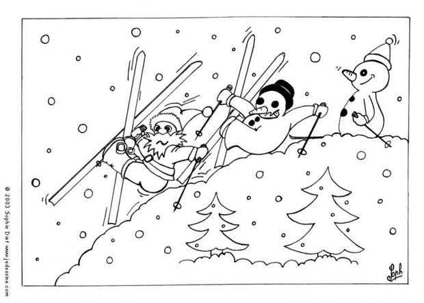 620x443 Snowman Is Skiing With Santa Coloring Pages