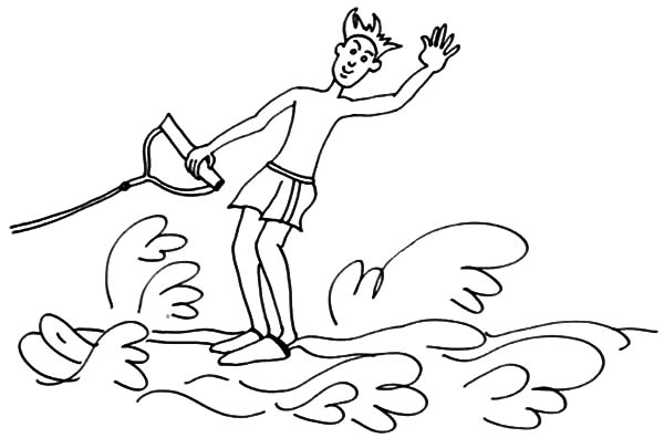 600x396 Water Skiing Coloring Pages For Kids Batch Coloring