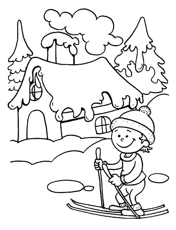 600x785 Skiing Coloring Pages