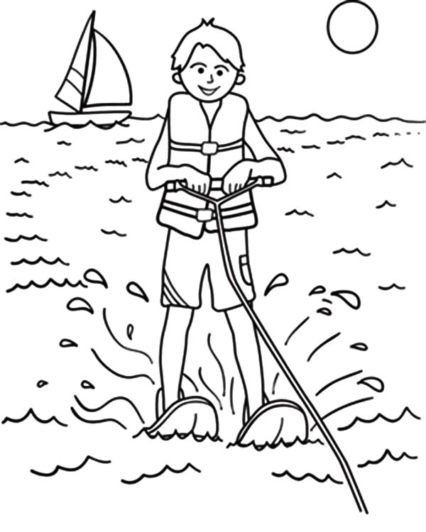 600x750 Extreme Sport Water Skiing Coloring Pages Batch Coloring