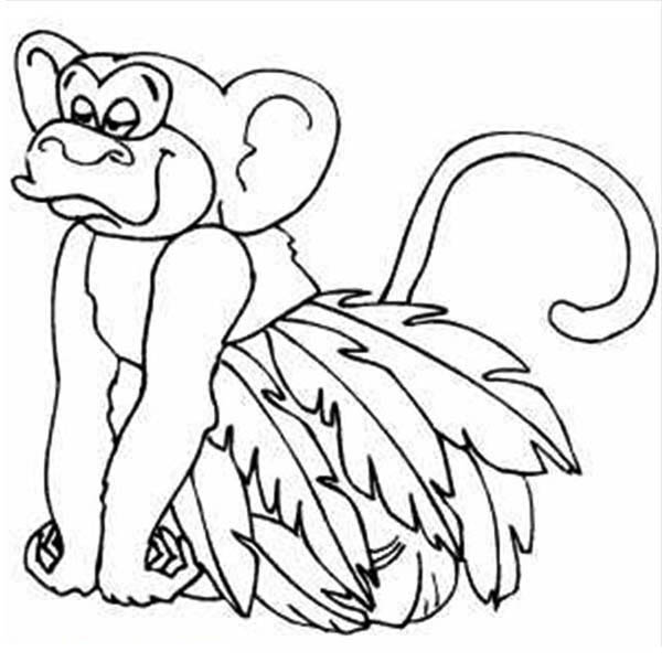 600x600 Monkey Wearing Leaf Skirt Coloring Page