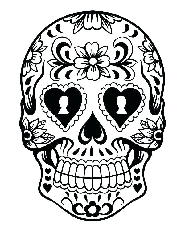 600x750 Coloring Pages Skull Printable Skull And Bones Stencil Skulls