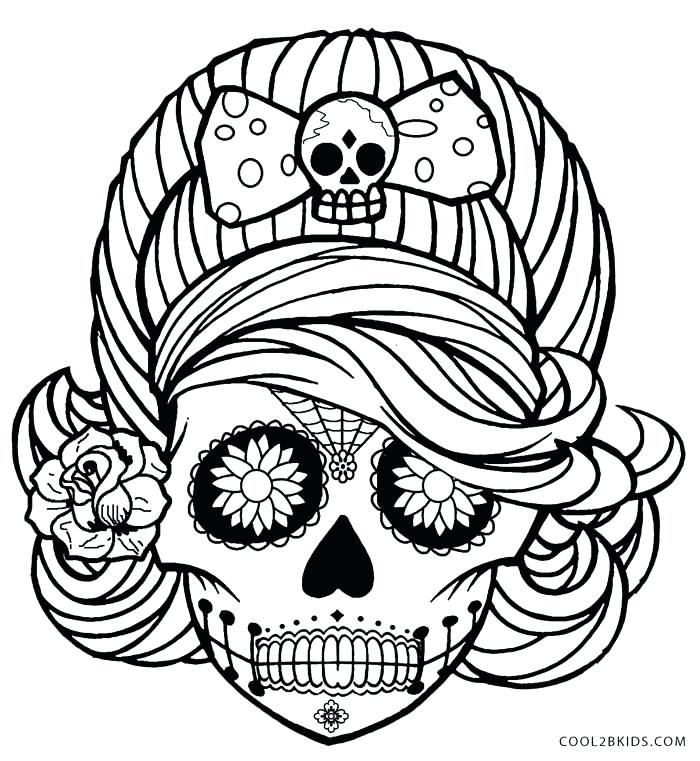 700x761 Coloring Pages Skulls Girl Skull Coloring Pages Coloring Pages
