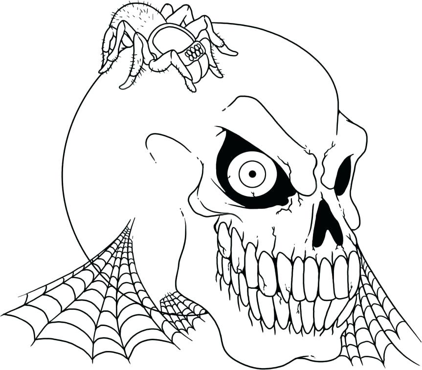 863x757 Skull And Bones Coloring Pages Coloring Pages Scary Skulls