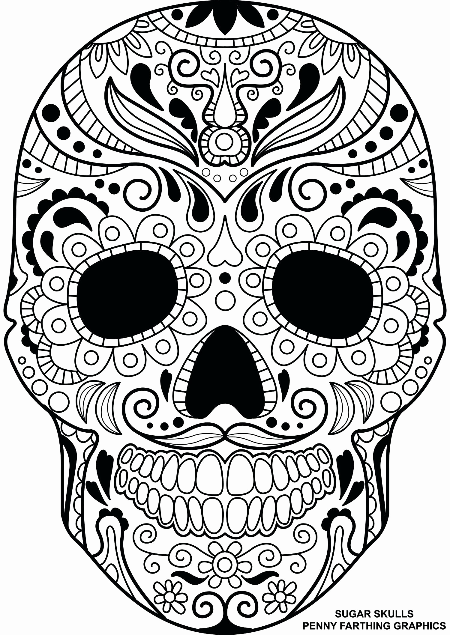 1500x2118 Skull And Crossbones Coloring Page Awesome Nice Candy Skulls