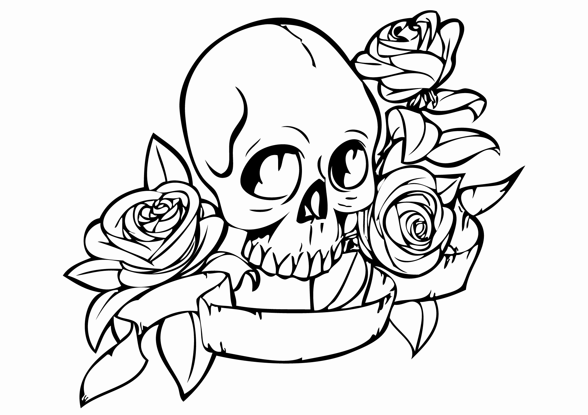 2000x1413 Skull And Crossbones Coloring Page Inspirational Skull And Rose