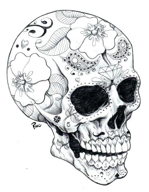 506x650 Sugar Skull Coloring Pages Free Free Printable Sugar Skull Free