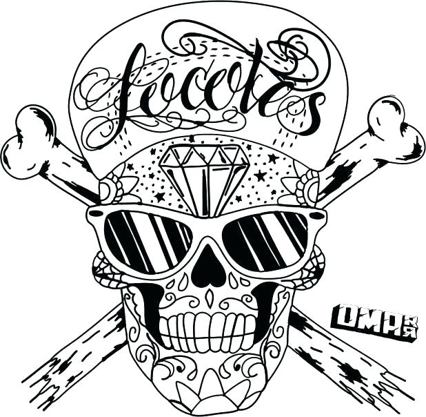 618x604 Sugar Skulls Coloring Pages Skull And Crossbones Coloring Pages