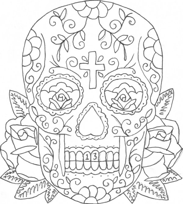 Skull And Rose Coloring Pages At Getdrawings Com Free For Personal