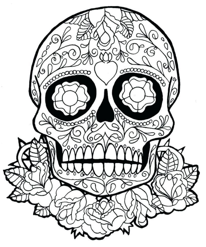 803x960 Coloring Pages Skull Sugar Skull Coloring Pages Adults Printable