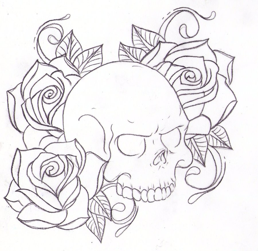 900x877 Rose And Skull Drawing Tattoo