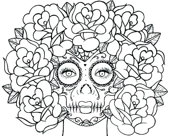 570x440 Skull And Roses Coloring Pages S Coloring Pages For Girls
