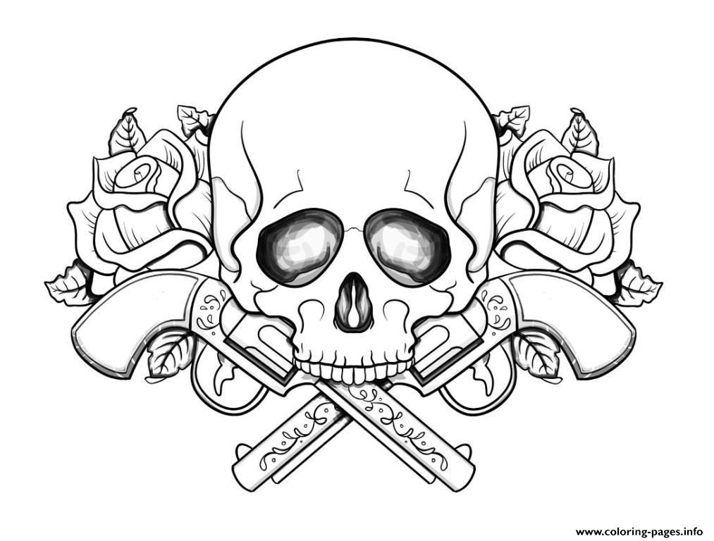 1013x768 Skull Printable Coloring Pages Sugar Skull With Roses Coloring