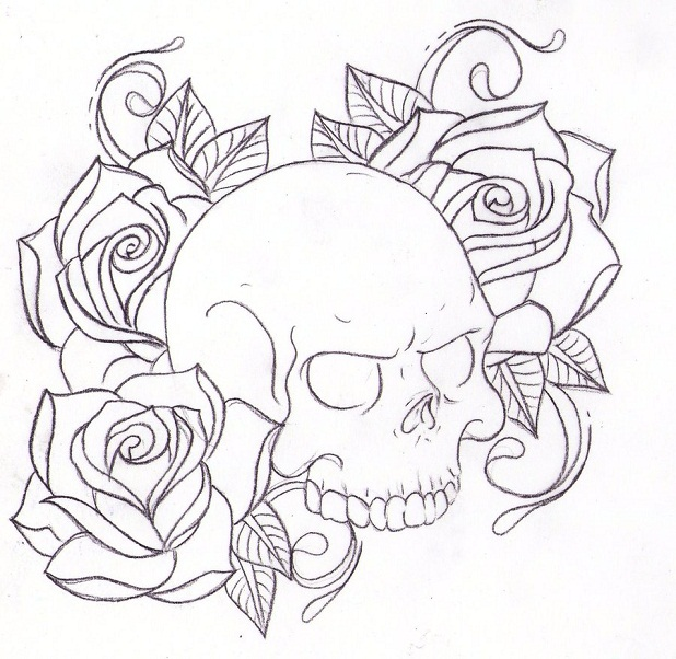 618x602 Skull And Roses Coloring Pages