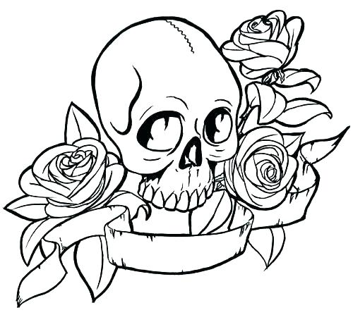 500x457 Skulls And Roses Coloring Pages Hearts And Roses Coloring Pages