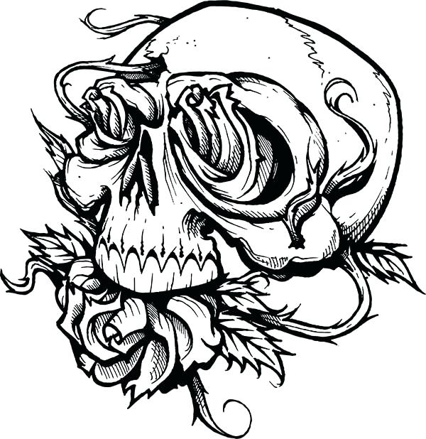 600x618 Skulls And Roses Coloring Pages Skull Roses Coloring Page Sugar