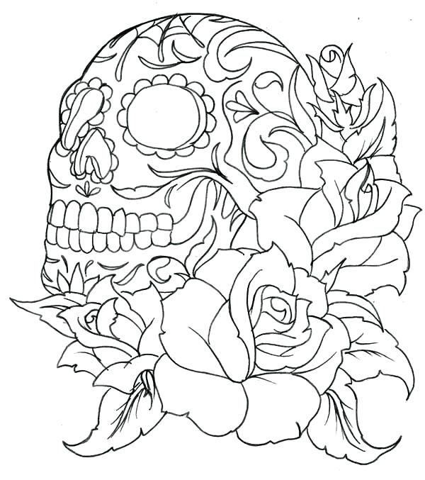 600x677 Sugar Skulls Roses Coloring Pages Colouring In Fancy Skull