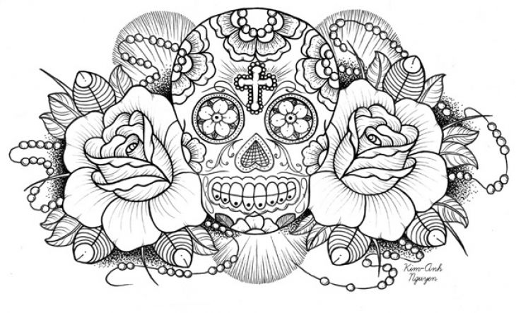 730x443 Very Difficult Sugar Skull Coloring Page For Adults Free Join