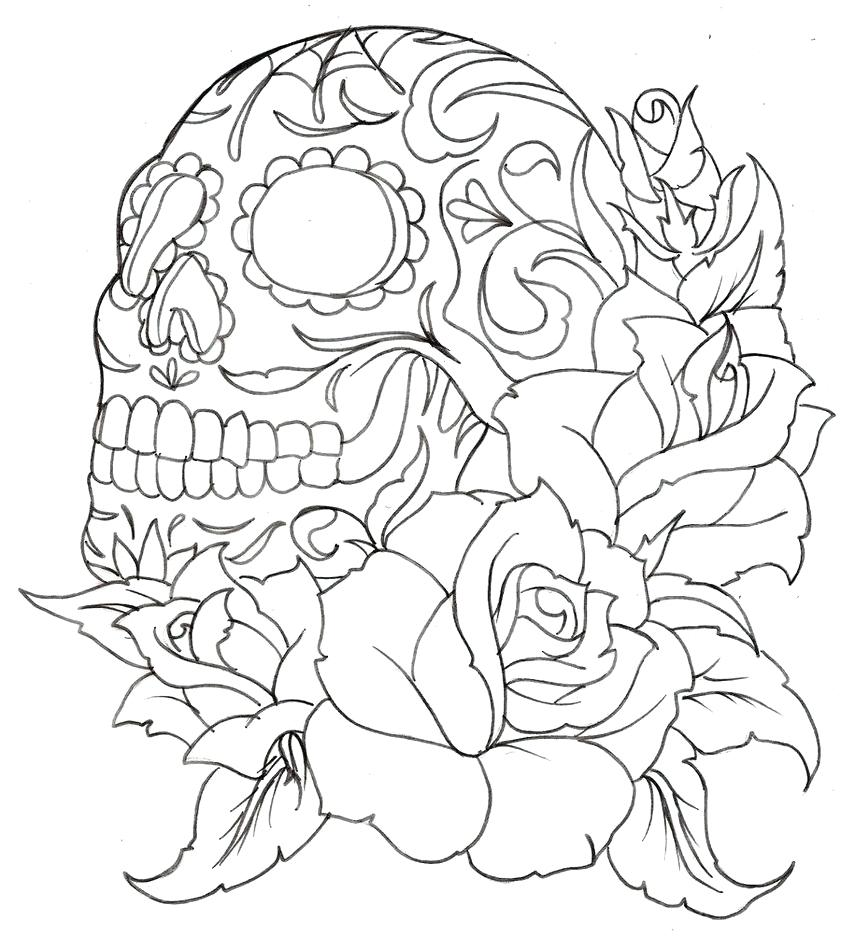 841x949 Coloring Pages Roses Coloring Pages Sugar Skull With Skulls