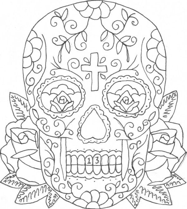 600x669 Printable Coloring Pages Of Skulls And Roses Candy Skull Tattoo