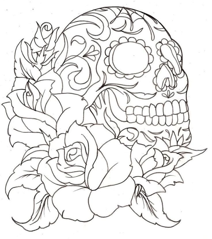 736x830 Skull And Flower Coloring Pages To Print