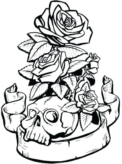408x546 Coloring Page Of A Rose Rose Coloring Sheets Skull And Roses
