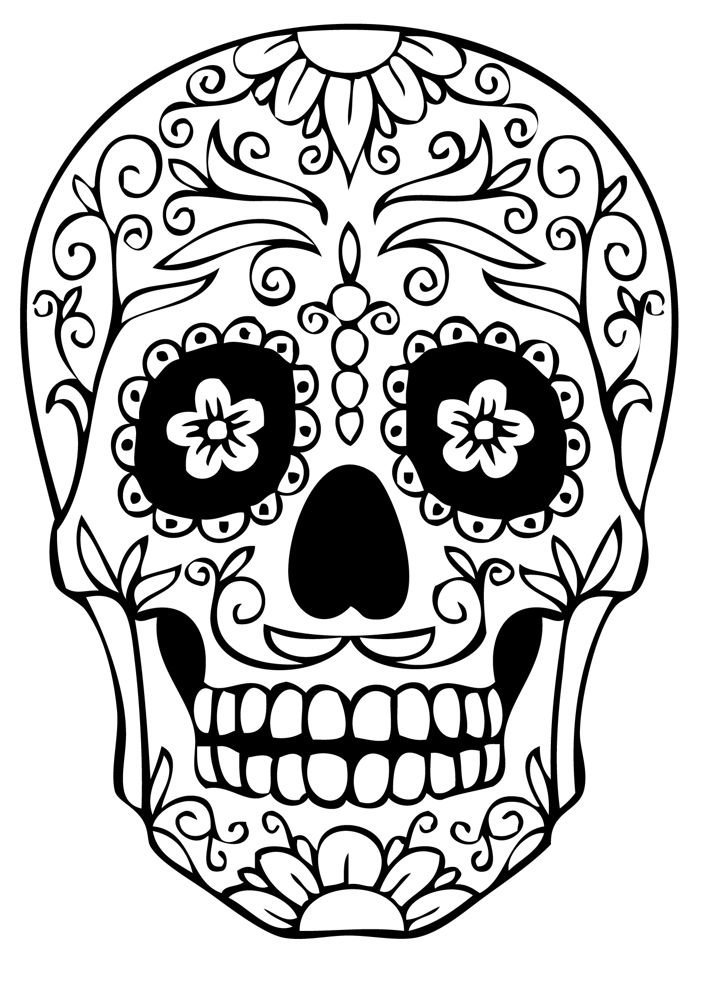 1413x2000 Skull Coloring Pages Print Advanced Cat Sugar In Within For Adults