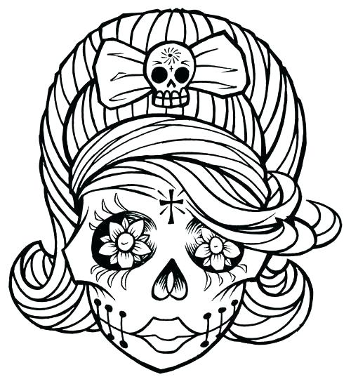 500x547 Skull Coloring Pages Printable Sugar Skull Coloring Page Basic Day