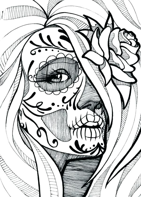 600x840 Skull Coloring Pages Sugar Skull Color Pages Sketchbook Project