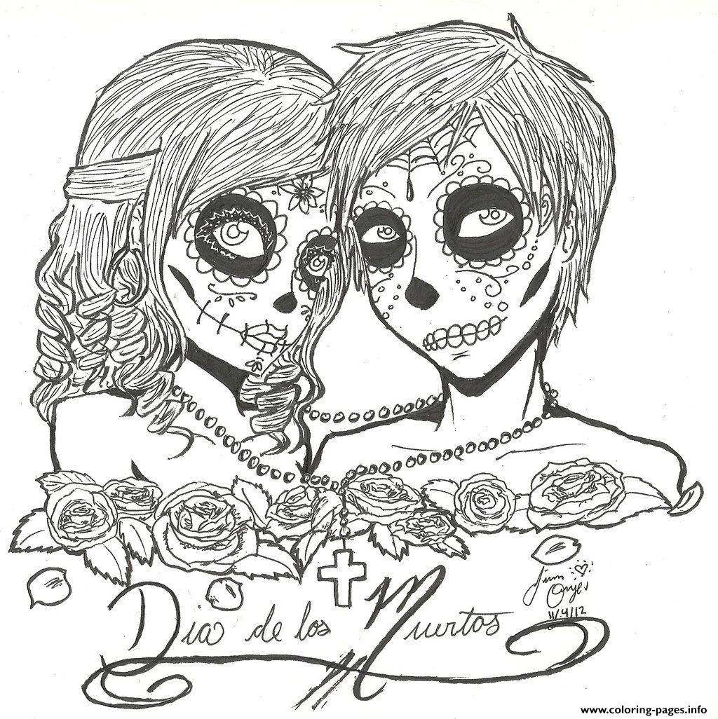 1024x1026 Sugar Skull Coloring Page Print Couples Love Pages Sugar Skull