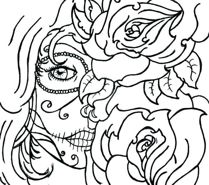 678x600 Sugar Skull Coloring Pages Sugar Skull Color Pages Skull Printable
