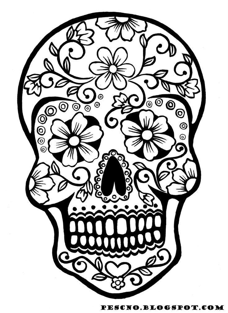 736x1012 Free Printable Sugar Skull Coloring Pages Sugar Skull Coloring