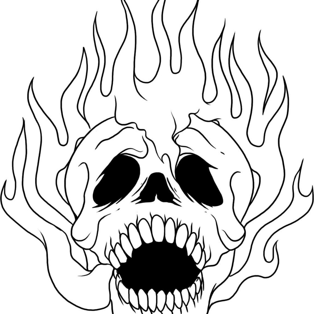 1024x1024 Cool Skull Coloring Page Printable Pages For K
