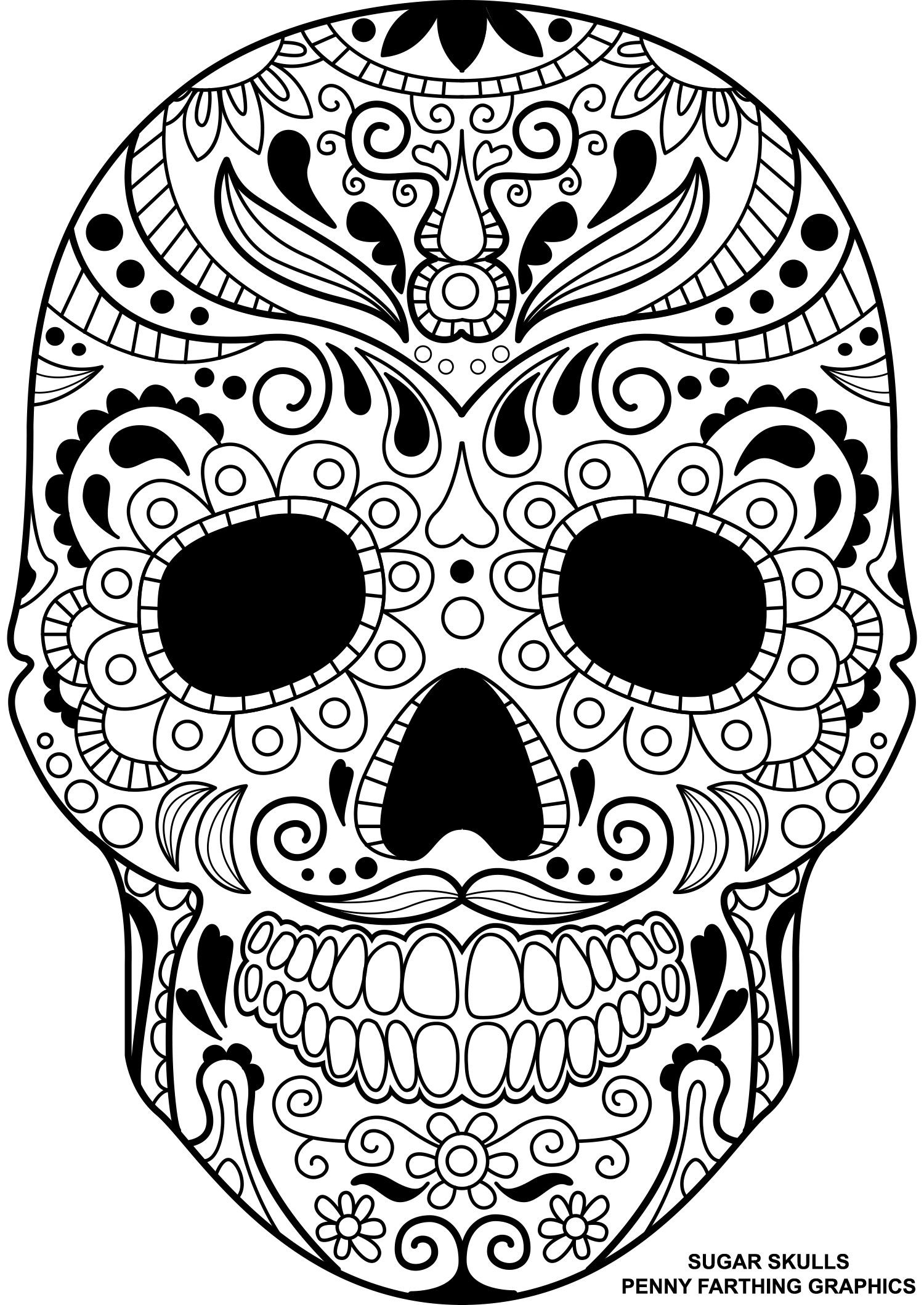 1500x2118 Day Of The Dead Mandala Coloring Pages Copy Adult Skull Coloring