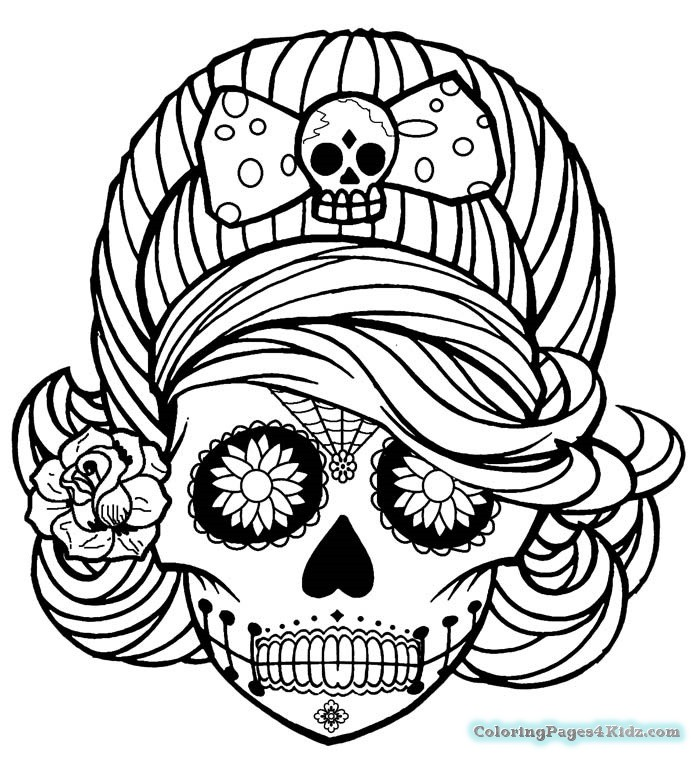 700x761 Girl Sugar Skull Coloring Pages Coloring Pages For Kids
