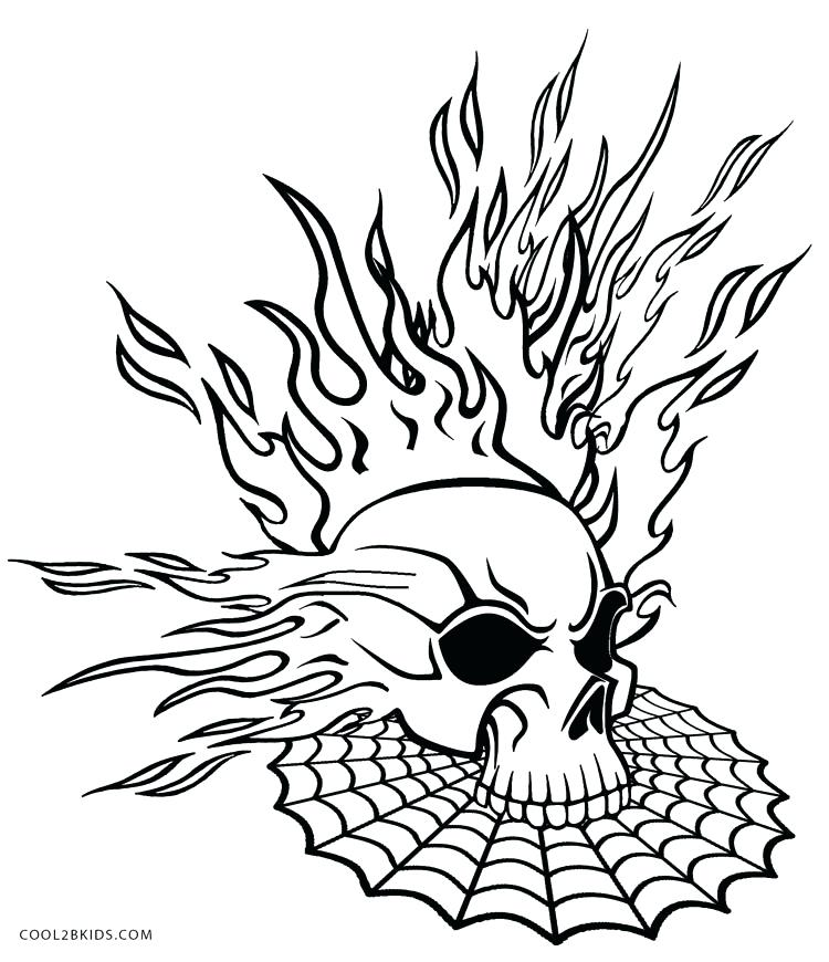 750x870 Head Coloring Page Flaming Skull Coloring Pages Skull Head