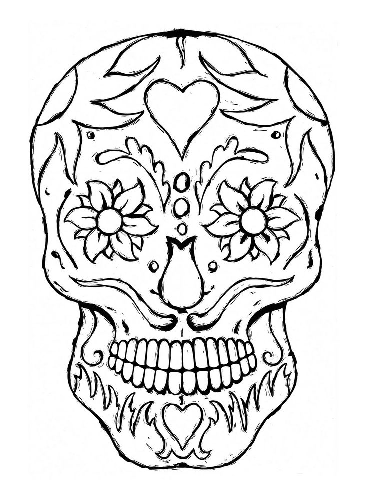 736x1001 Sugar Skull Free Coloring Pages Print Color Craft