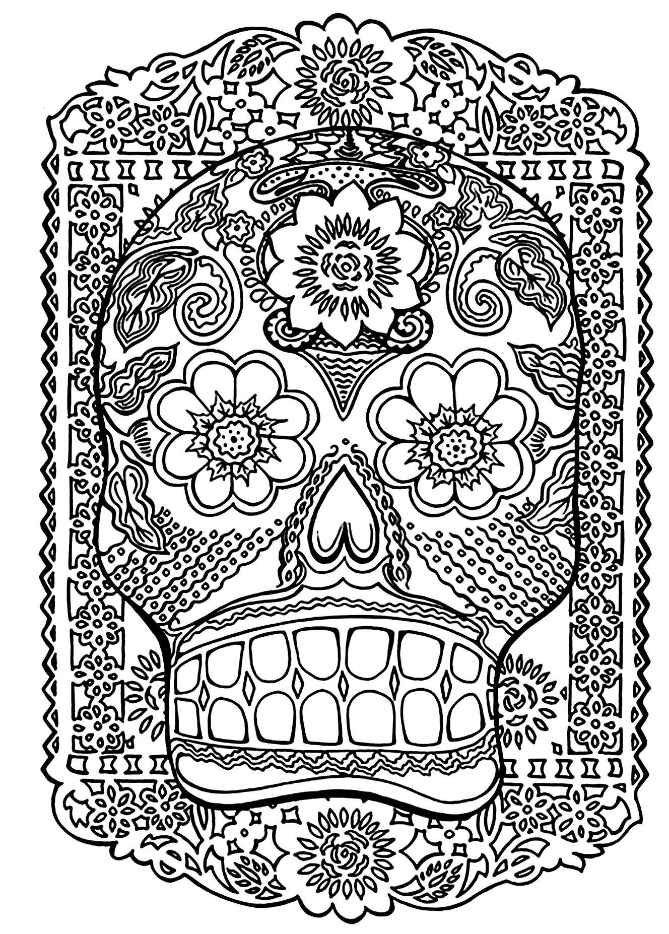 1328x1854 To Print This Free Coloring Page Skull Head Antistress
